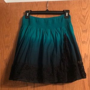 Free People shades of turquoise ombré skirt